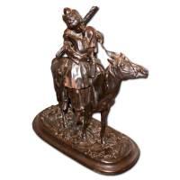 """Скульптура """"Прощание казака"""", Касли, модель Лансере, 1878 г, отлив 1912 г, клейма Касли 1912 г., В. Кузнецов 11B54"""