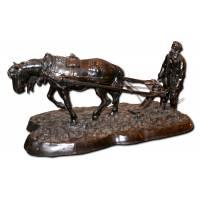 """Скульптура """"Толстой на пашне"""" по модели Соловьевой А.А., отлив 1914г., клема Плотников 10B53"""