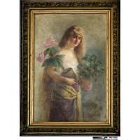 """Картина """"Девушка с цветами"""" (Жакомо де Пасс) 8ZH41"""