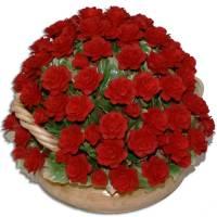 Декоративная корзина с красными розами Artigiano Capodimonte 0210/7/red
