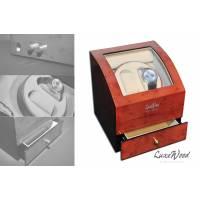 Шкатулка с автоподзаводом для 2-х часов с выдвижным ящиком для хранения драгоценностей LuxeWood LW721-3