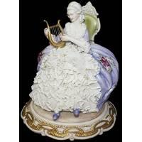"""Статуэтка """"Дама с лирой сидящая в кресле"""" Porcellane Principe 1106/PP"""