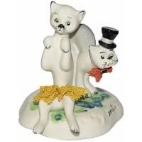 """Статуэтка """"Кот в цилиндре и кошка в жёлтом платье"""" Zampiva 91043/Z"""