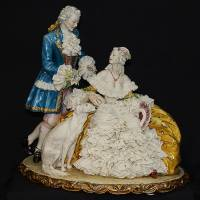 """Статуэтка """"Леди, кавалер и собака"""" Porcellane Principe 1014T/PP"""