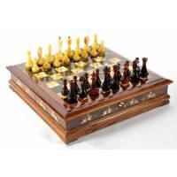 Янтарный шахматный ларец (Корень ореха) ES036