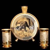 """Фляга для водки """"Охота на медведя"""" со стопками Златоуст Авторские работы RV0024859CG"""