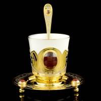 Кофейная пара (чашка, блюдце, ложка) Златоуст RV0036739CG