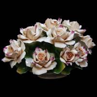 "Декоративная корзинка ""Чайные розы"" Artigiano Capodimonte 288/AC/cream"