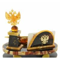 """Настольный набор из янтаря для руководителя """"Герб России"""" RV9984CG"""