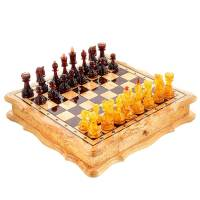 Шахматы деревянные с фигурами из янтаря RV0046912CG