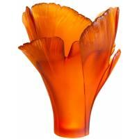 """Ваза для цветов """"Magnum Ginkgo"""" янтарная Daum (h=52) (Лимитированная серия 99 экз.) 05107-3"""