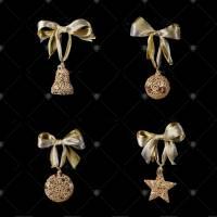 """Набор Faberge/Tsar из 4-х ёлочных игрушек """"Red&Gold"""" 680519"""