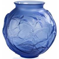 "Ваза для цветов синяя ""Hirondelles"" Lalique 10624200"