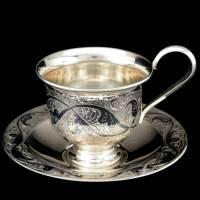 Кофейная пара серебряная гравированная RV0040416CG