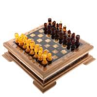 Шахматы деревянные с фигурами из янтаря Эксклюзив RV0046896CG
