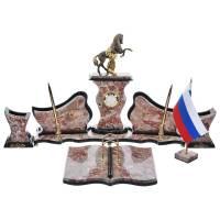 """Настольный набор с часами """"Конь с попоной"""" из камня RV0050830CG"""