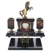 """Настольный набор с часами """"Конь"""" из камня RV0050821CG"""