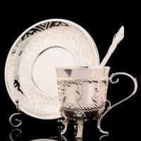 """Кофейная пара серебряная """"Неаполь"""" гравированная RV0039501CG"""