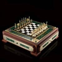 "Шахматный ларец из камня ""Баталия"" с фигурами Златоуст RV0044869CG"