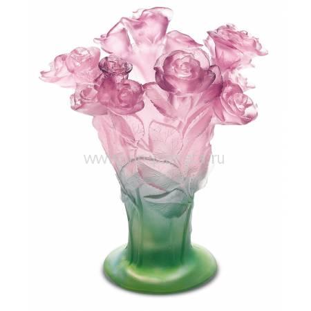 "Ваза для цветов ""Roses"" зелено-розовая Daum 02570"