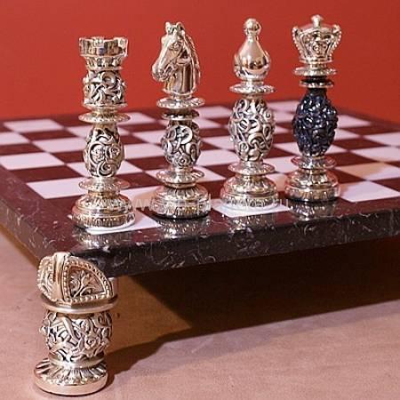 Шахматный набор с чернением (доска - мрамор) SCO109