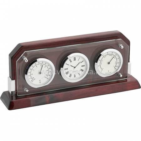 Часы настольные с термометром и гигрометром Linea del Tempo A9256R